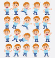 cartoon character of a blond boy in jeans set vector image