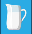 ceramic jug with milk isolated on blue vector image vector image