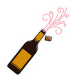 Champagne bottle cork explosion drink celebration vector image