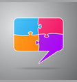 chat speech bubble colorful puzzle 4 step vector image vector image