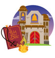 church and bible game background on a religious vector image