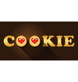 cookie word with top view of strawberry jam cookie vector image
