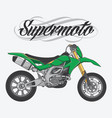 design logo supermoto rider ride a supermoto bike vector image
