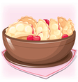 Dish with dumplings with cherry vector image