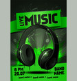 electronic music festival flyer with headphones vector image vector image