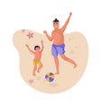 father and son at beach cartoon man and child vector image vector image
