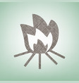 fire sign brown flax icon on green vector image