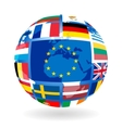 Flags of eu countries on globe vector | Price: 1 Credit (USD $1)