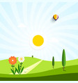 flat design landscape field with flowers and path vector image
