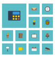 flat icons watch calculate letter and other vector image vector image