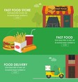 Food delivery horizontal banner set vector image vector image