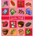 Garden stuff flowers pots and seeds 16 icons vector image