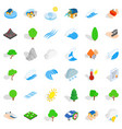 global warming icons set isometric style vector image vector image