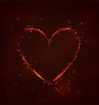 glowing red heart on dark background vector image