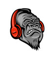 gorilla headphones head mascot retro vector image