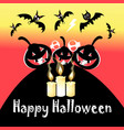 halloween festive greeting card with pumpkins vector image