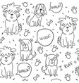 handdrawn seamless pattern with doodle dogs vector image vector image