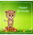 Happy birthday background with little bear vector image vector image
