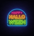happy halloween neon text design template vector image vector image