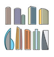 isolated colorful skyscrapers in lineart style vector image vector image