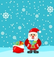 jolly christmas santa holding up a stack vector image