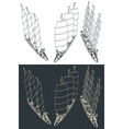 large modern sailing ship sketches vector image vector image
