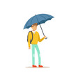 man standing under blue umbrella flat vector image