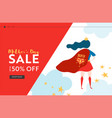 mothers day sale banner with superhero mother vector image vector image