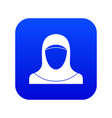 muslim women wearing hijab icon digital blue vector image vector image