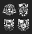 nordic viking vintage emblems set vector image