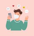 online communication man wearing face mask vector image