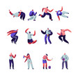 parkour and graffiti characters set youth city vector image