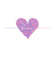 pink and blue complicated lined heart vector image vector image