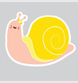 pretty snail girl on a gray background yellow bow vector image