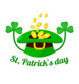 saint patrick day holiday gold coins in leprechaun vector image