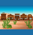 scene with shops and cactus in desert vector image