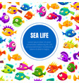 sea life banner template with cute colorful vector image vector image