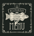seafood restaurant menu with hand tray and fish vector image vector image