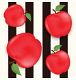 seamless background with red apples and leaves vector image vector image