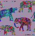 seamless decorative pattern with elephants vector image