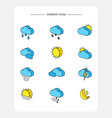 set isometric 3d icons weather forecast vector image