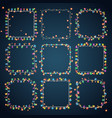 set of 9 color square garland lights glowing vector image