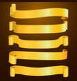 set of horizontal blank gold curved paper ribbon vector image vector image