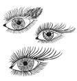 Set of the abstract hand drawn human eyes vector image vector image