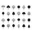 set outline tree icon vector image