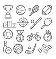sport line icon set on white background vector image