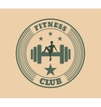 Sporty woman sits on a dumbbell vector image vector image