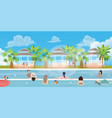 swimming pool situation people family girl man vector image