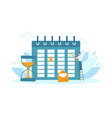 tiny businessman planning schedule time vector image vector image