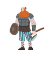 viking warrior with battle axe and sword vector image
